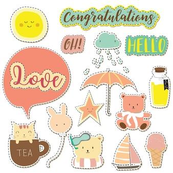 Collection d'icônes de dessin animé avec icône de libellé, nuage, étoile, soleil, parapluie