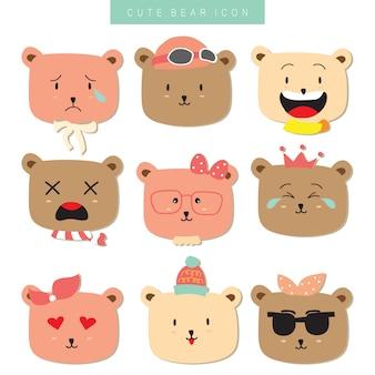 Collection d'icônes de dessin animé avec ours
