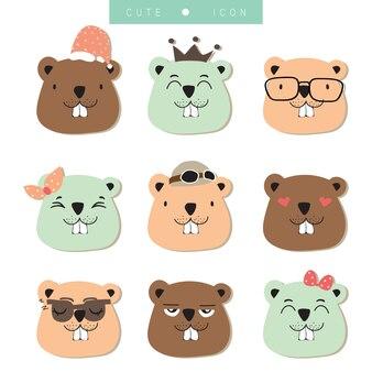 Collection d'icônes de dessins animés avec écureuil
