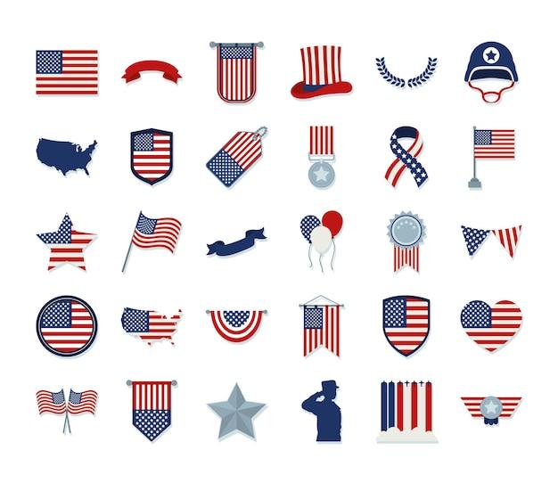 Collection d'icônes du jour commémoratif des états-unis