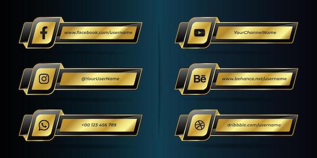 Collection d'icônes du tiers inférieur des médias sociaux modernes dorés et noirs