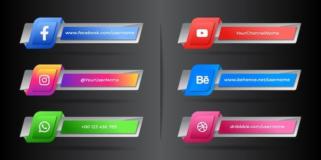 Collection d'icônes du tiers inférieur des médias sociaux modernes