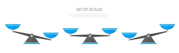 Collection d'icônes d'échelles. balance isolé sur fond blanc. style plat. illustration vectorielle.