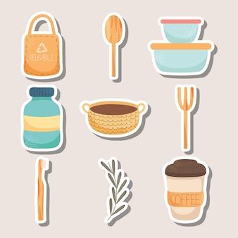 Collection d'icônes d'éléments écologiques réutilisables
