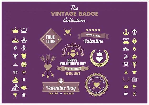 Collection d'icônes, emblèmes et insignes rétro vintage