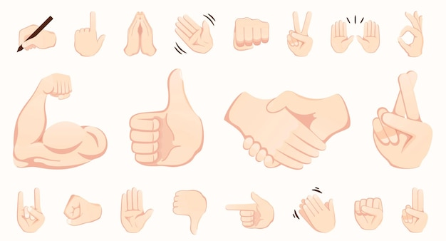 Collection d'icônes emojis geste de la main poignée de main biceps applaudissements pouce paix rock sur dossier ok mains ensemble de gestes