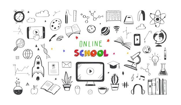 Collection d'icônes d'enseignement à distance en ligne homeschooling