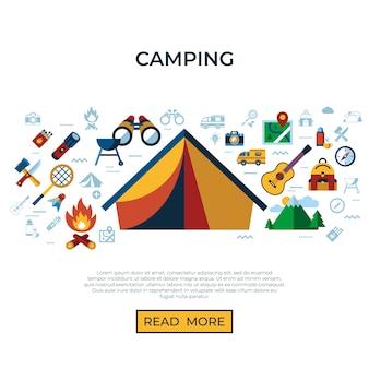 Collection d'icônes d'été camping activités sportives