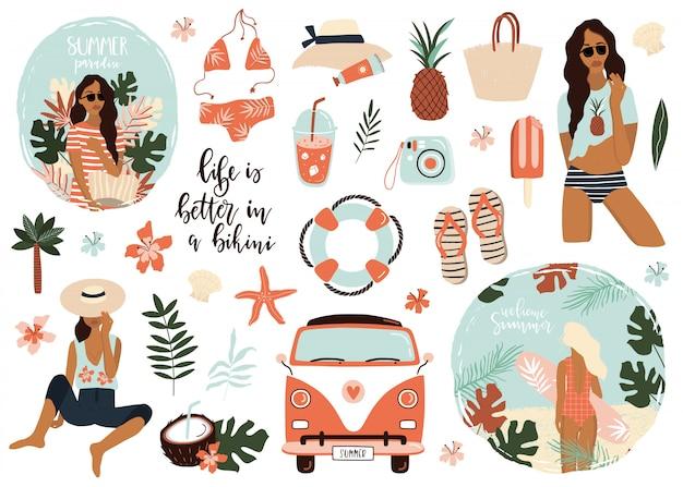 Collection d'icônes de l'été.