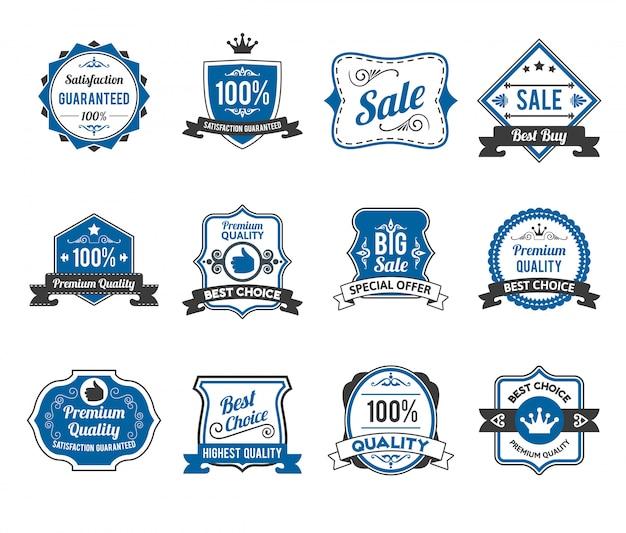 Collection d'icônes étiquettes de vente rétro
