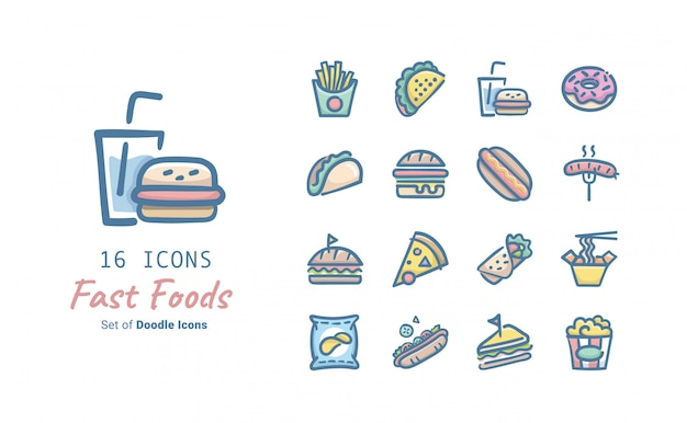 Collection d'icônes fast food doodle
