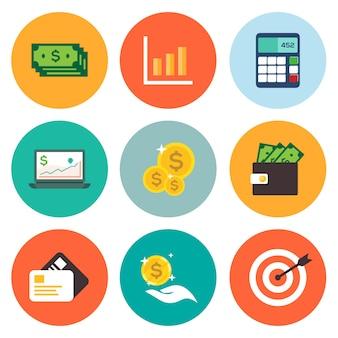 Collection d'icônes financières commerciales