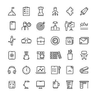 Collection d'icônes de gestion de bureau et de temps
