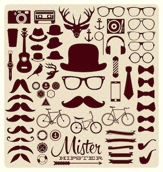 Collection d'icônes hipster