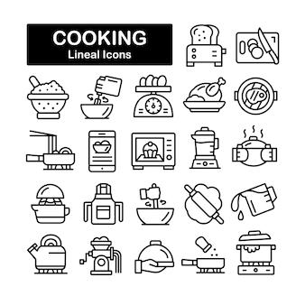 Collection d'icônes de ligne de cuisson
