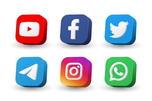 Collection d'icônes de logo de médias sociaux isolée sur blanc