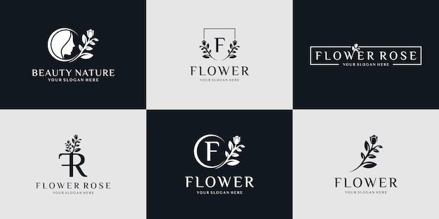 Collection d'icônes et logo nature beauté minimaliste