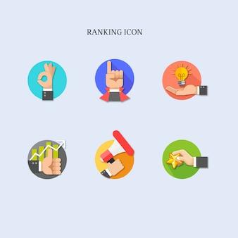 Collection d'icônes sur les mains