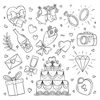 Collection d'icônes de mariage dessinés à la main