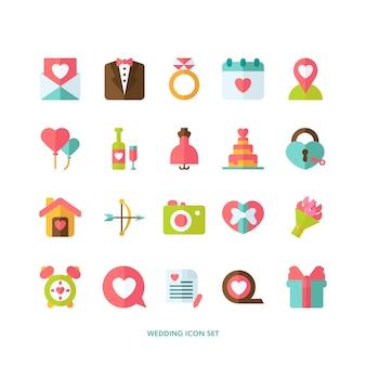 Collection d'icônes de mariage plat
