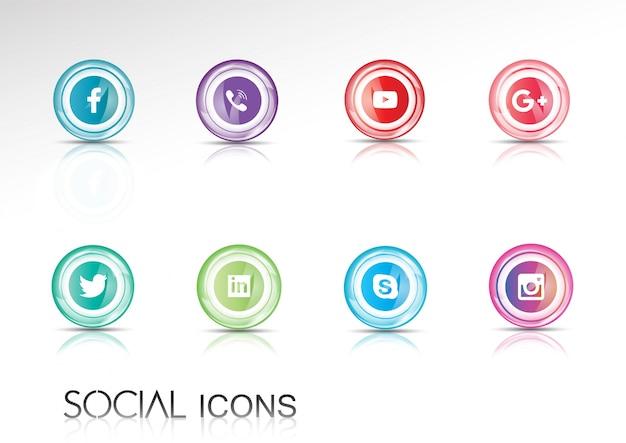 Collection d'icônes de médias sociaux brillants