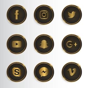 Collection d'icônes de médias sociaux de luxe