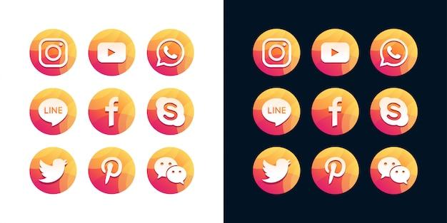 Une collection d'icônes de médias sociaux populaires sur fond blanc et noir