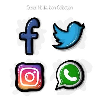 Collection d'icônes de médias sociaux style bande dessinée dessinée à la main