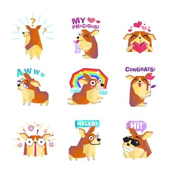 Collection d'icônes de message de dessin animé de chien corgi