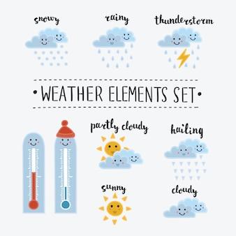 Collection d'icônes météo smiley dessin animé et drôle