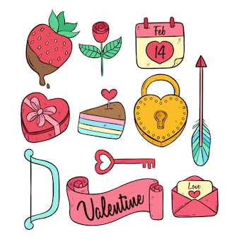 Collection d'icônes mignonnes colorées doodle valentine