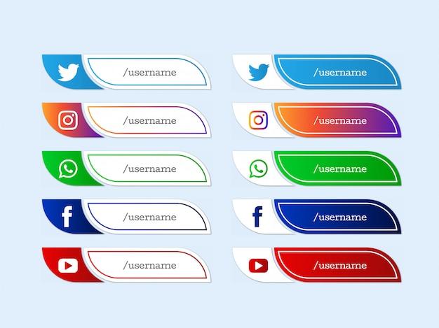 Collection d'icônes modernes du tiers inférieur des médias sociaux
