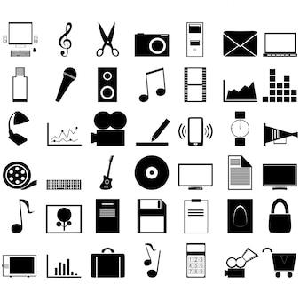 Collection d'icônes en noir et blanc