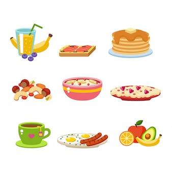 Collection d'icônes de nourriture petit déjeuner sain