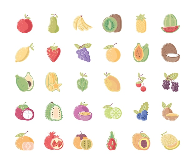 La collection d'icônes de nutrition des aliments frais de fruits comprend l'illustration de mandarine d'ananas orange poire