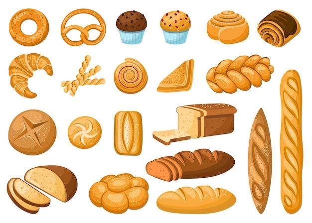 Collection d'icônes de pain ciabattabaguettebagelcroissantcupcaketranches de pain éléments pour la boulangerie