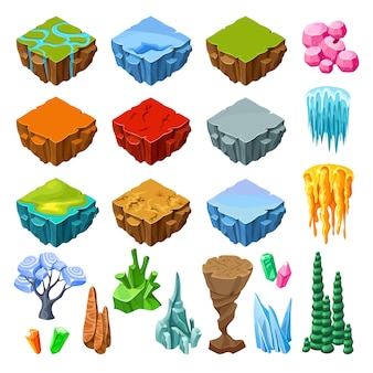 Collection d'icônes de paysage de jeu lumineux isométrique