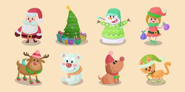 Collection d'icônes de personnages de noël