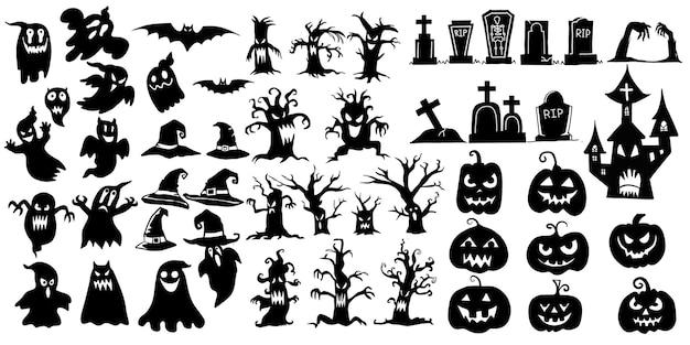 Collection d'icônes et de personnages de silhouettes d'halloween, éléments pour les décorations d'halloween vecteur premium, chacun sur un calque séparé.