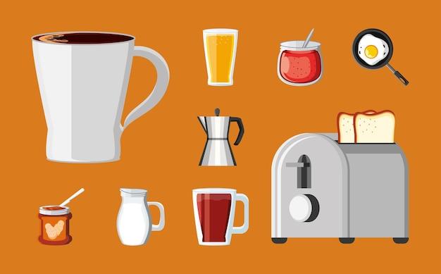 Collection d'icônes de petit déjeuner