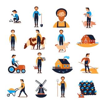 Collection d'icônes plat agriculteurs