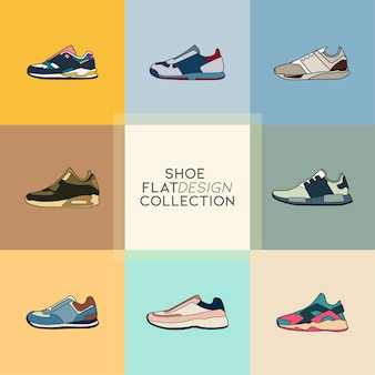 Collection d'icônes plat chaussures