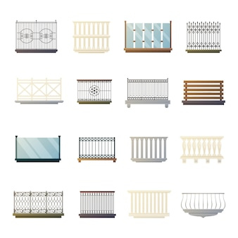 Collection d'icônes plates de balustrades design
