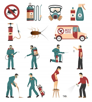 Collection d'icônes plates du service de lutte antiparasitaire