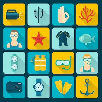 Collection d'icônes plongée sous-marine