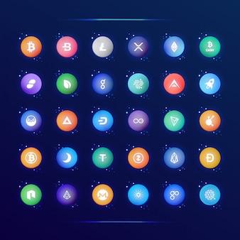 Collection D'icônes Populaires De Crypto Monnaie Vecteur Premium