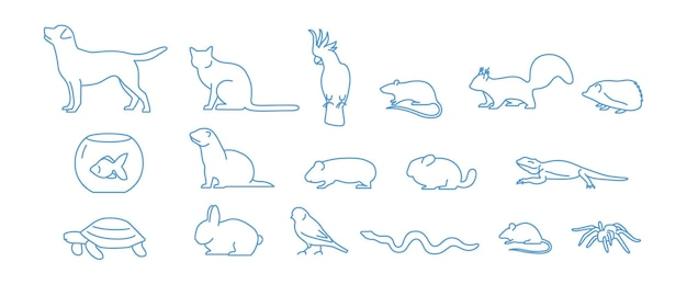 Collection d'icônes pour animaux de compagnie dessinées avec une ligne de contour bleue sur fond blanc. ensemble de symboles linéaires d'animaux domestiques. illustration vectorielle.