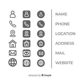Collection d'icônes pour carte de visite