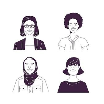 Collection d'icônes de profil créatif dessinés à la main
