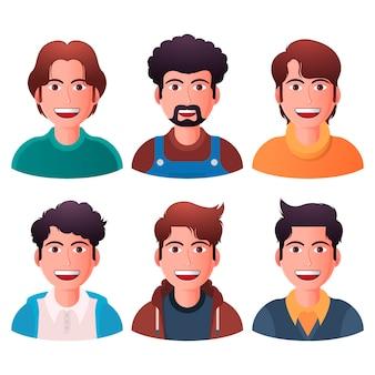 Collection d'icônes de profil dégradé créatif